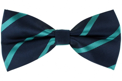 Silk Navy Blue Bow Tie With Turquoise Stripes